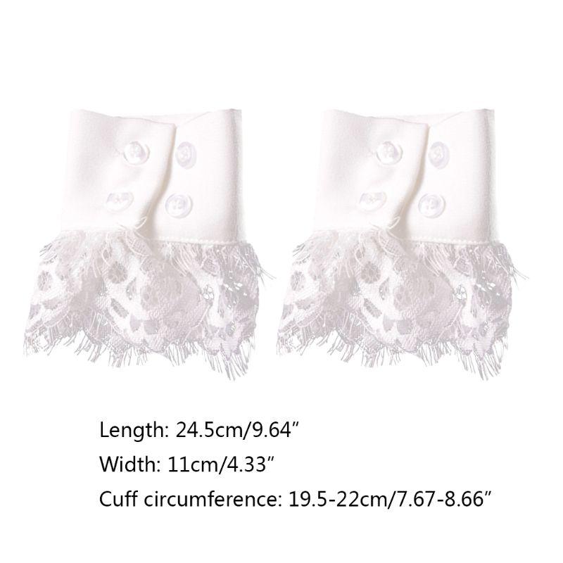 Women Handmade Fake Sleeves Crochet Eyelash Lace Panel Horn Cuffs Wrist Warmers 449F