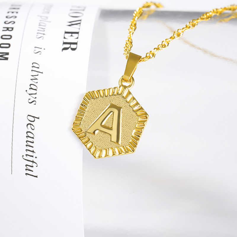 A-Z naszyjnik listowy złoty łańcuszek ze stali nierdzewnej początkowy wisiorek naszyjniki dla kobiet alfabet Choker naszyjnik biżuteria boho