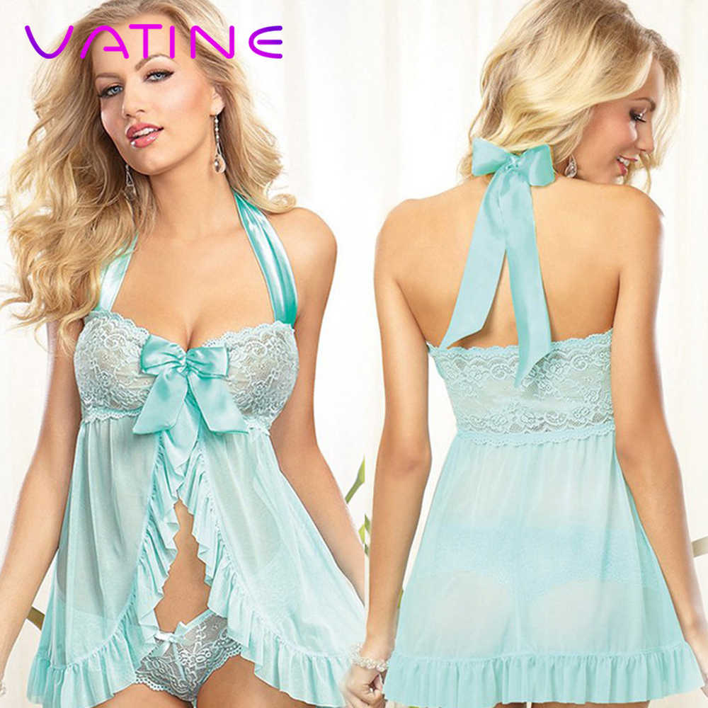 VATINE Damen Kleid und String set Sexy Dessous frauen Nachthemden Spitze Sehen-durch Nachtwäsche Sex Kostüme Uniform Versuchung