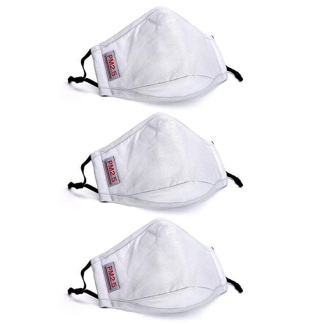 1/2/3pcs Breathable Cotton Mouth Mask Unisex Anti Dust Washable PM 2.5 Filter Mask Face Mouth Cover For Outdoor 2