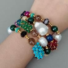 Y.YING – Bracelet en perles blanches de 8 pouces, 4 brins de culture, Agates, Jades, Turquoises, Cz