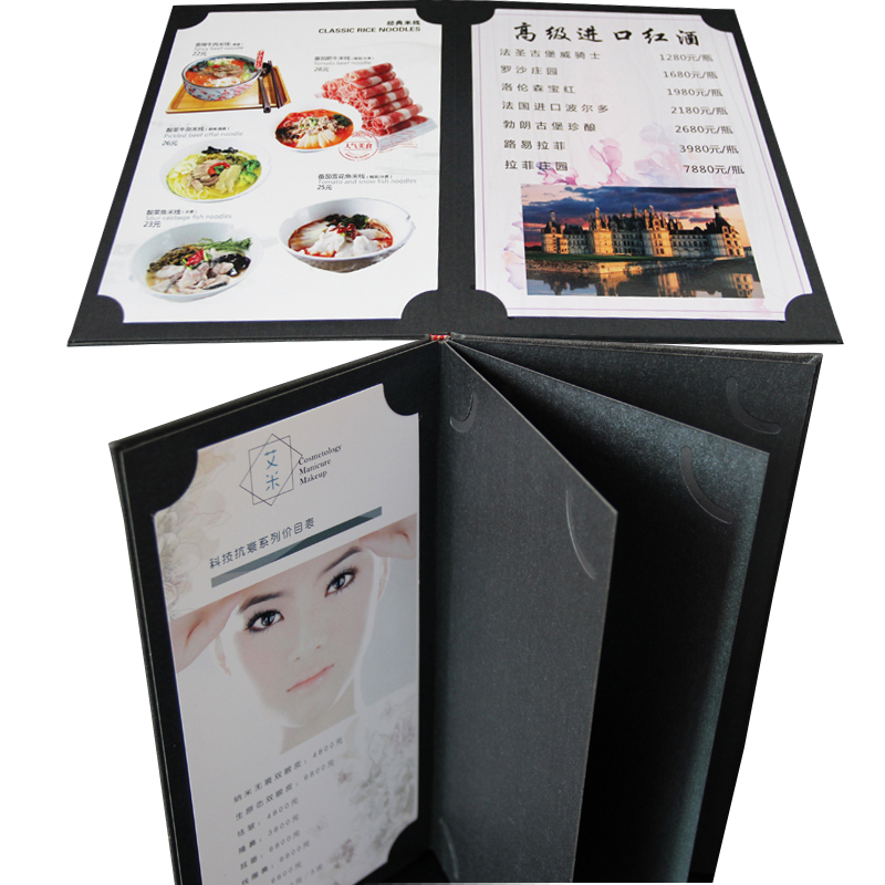 Restaurant Menu Folder Customised, Small MOQ Menu Folder For Hotel