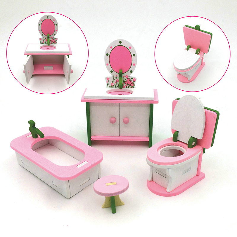 Hot Wooden Toy Miniature Dollhouse Simulation Furniture Educational Pretend Furniture For Barbie Accessories Girls Birthday Gift