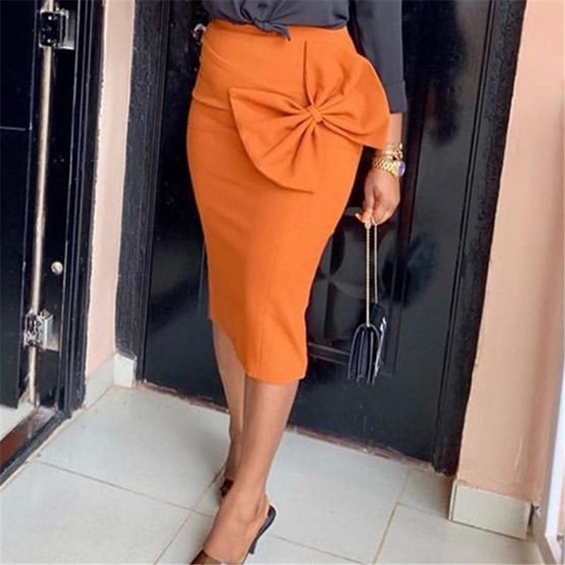 Women High Waist Skirts Bodycon Pencil Office Ladies With Big Bowtie Spring Summer African Modest Elegant Retro Jupes Falad Saia