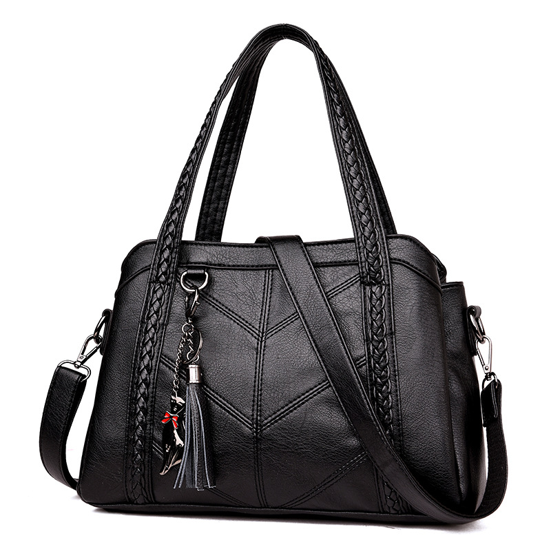 Bolsas femininas de couro genuíno 2020 bolsa de ombro grande capacidade feminina saco de compras preto para mulher