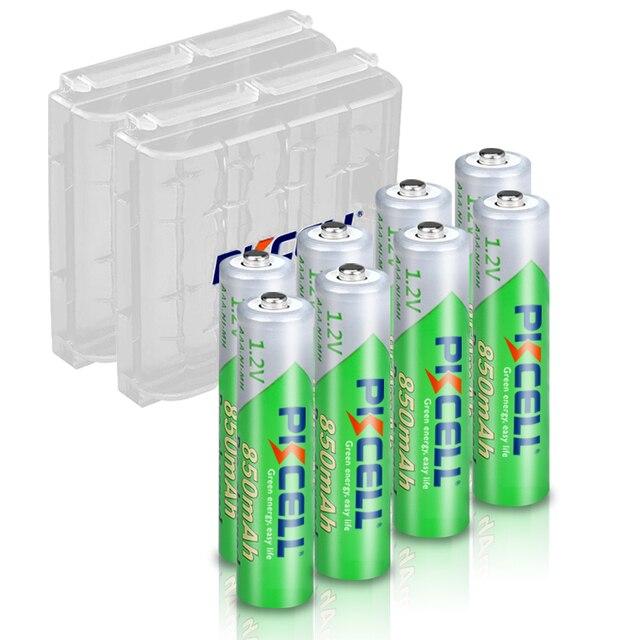 PKCELL batería recargable AAA de 850mah, 1,2 V NI MH, 3A, baja autodescarga, con 2 baterías de PC, caja de soporte, 8 piezas