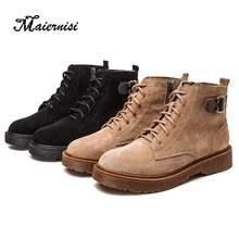 MAIERNISI Boots Women High Heels Female Strap Boots Buckle Fashion Round Toe Flock Western Ankle British Style Plus Size 34-43 british style men s short boots with buckle strap and ruched design