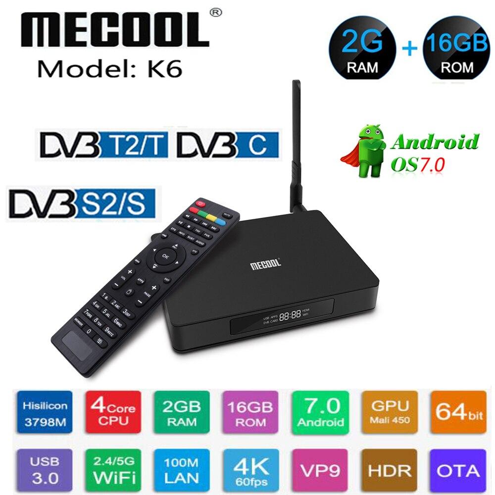 MECOOL K6 DVB-T2 DVB-S2 Smart TV Box Android 7.0 Hisilicon HI3798M Quad Core 2GB RAM 16GB ROM 4K décodeur DVB-C lecteur multimédia