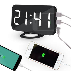 Alarm-Clock Mirror Desk Charge-Ports Led-Table Snooze-Display Time Digital Night New