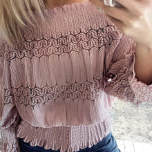 OEAK 2019 New Women Autumn Sexy Flare Sleeve Blouses Off The Shoulder Fashion Tops Lasy Lace Casual Solid Chiffon Shirts