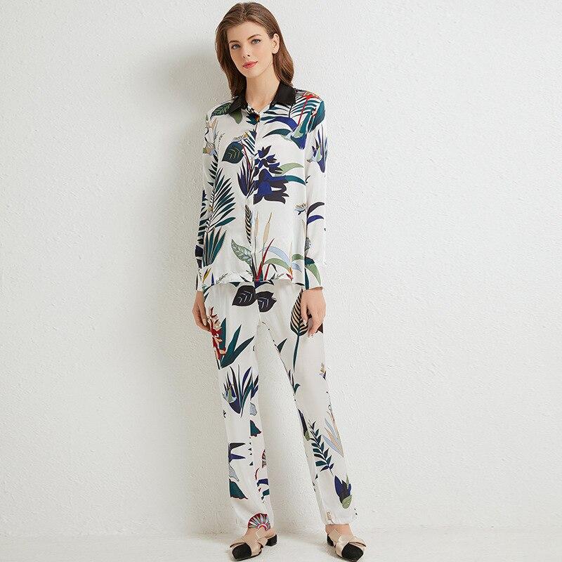 Повседневная Пижама с принтом, Женский Пижамный костюм из 100% шелка, сексуальный белый шелковистый пижамный комплект из 2 предметов, свободн