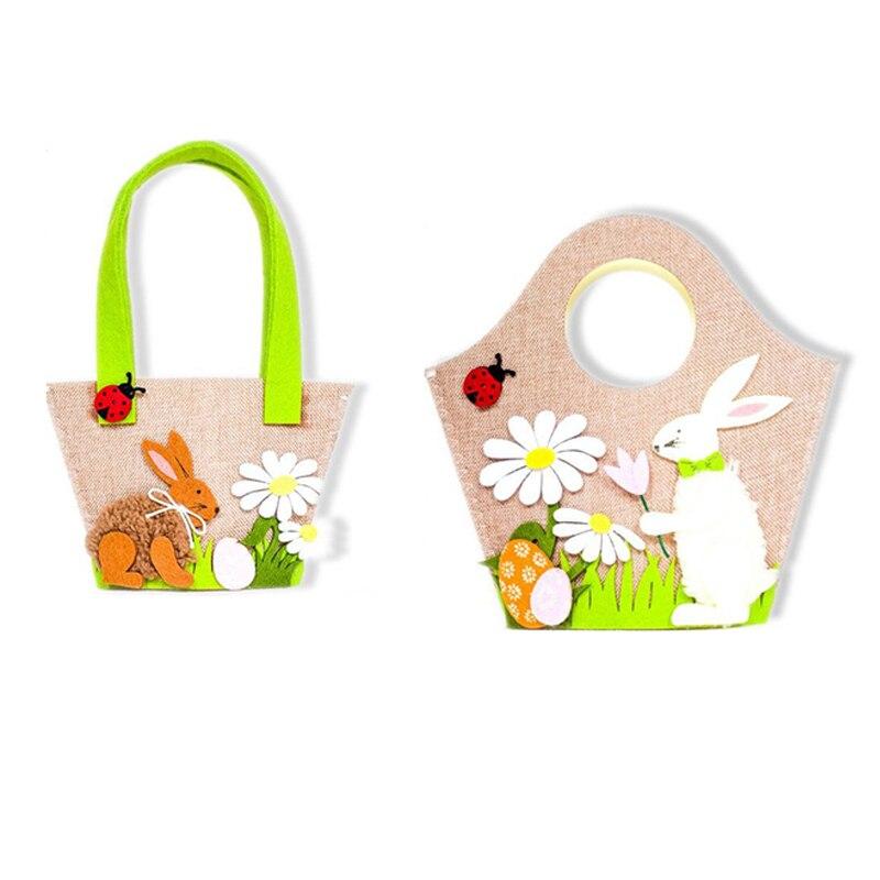 Ev ve Bahçe'ten Katlanabilir Depolama Çantaları'de Yeni paskalya yumurtası tavşan çiçek çanta sevimli paskalya dekorasyonu parti malzemeleri çocuklar için şeker yumurta oyuncak hediye saklama çantası çanta ev Deco title=