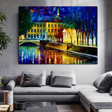 Modern Palette Knife landscape building Oil Painting On Canvas Art Pictures For Room Decor Wall Paintings No Frame free shipping