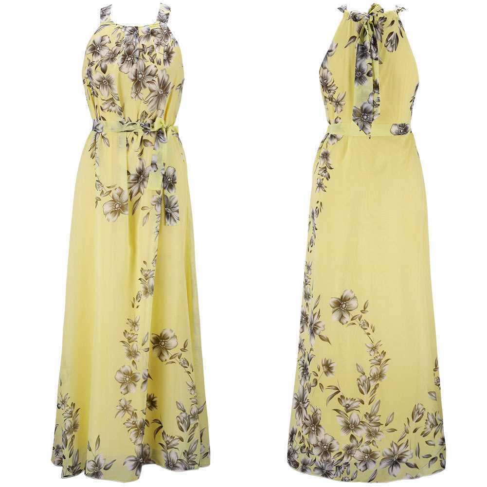 Hot Selling Europe And America Amoi Bohemian Printed Chiffon Dress Beach Long Skirts Women's