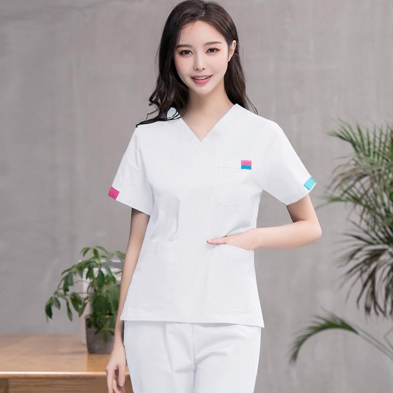 NEW Style Women Scrub Set Short Sleeve Pure Cotton Medical Uniforms Classic V Neck Nurse Scrub Top And Pants