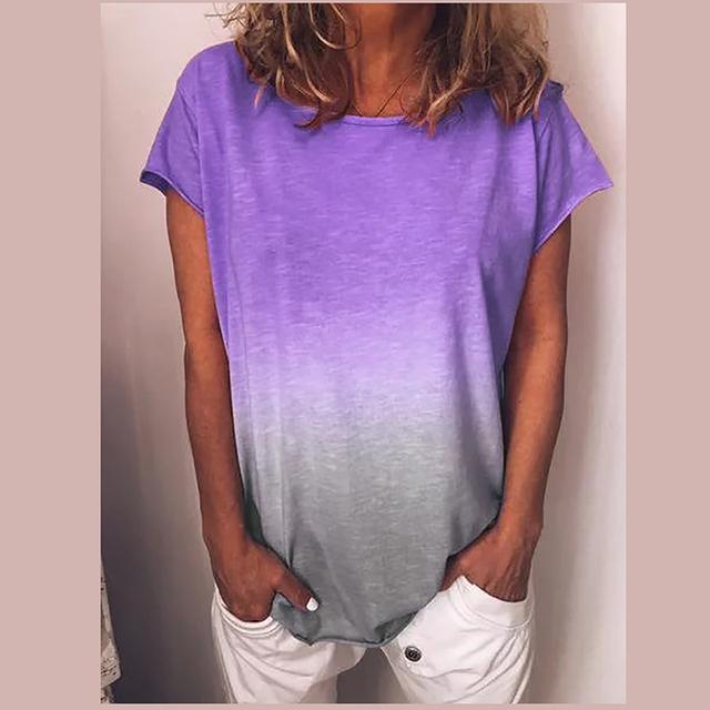 Rainbow Gradient Solid T-shirt Women Cotton
