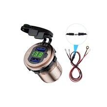 12 فولت 24 فولت الألومنيوم مقاوم للماء المزدوج QC3.0 USB شاحن سريع مخرج طاقة LED الفولتميتر التبديل كابل لسيارة البحرية شاحنة SUV