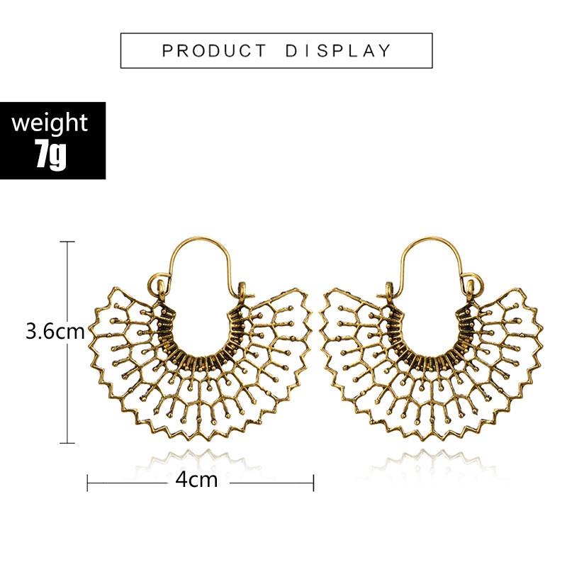 H393c76b2f4da40ae8fd5846c409b2332a - HuaTang Vintage Gold Silver Color Metal Dangle Hollow Earrings for Women Geometric Carved Ethnic Earring Indian Jewellery brinco