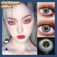 Easysmall sereia lágrimas círculo azul lente de contato colorido grande bela pupila lentes de contato para olhos grau miopia prescrição