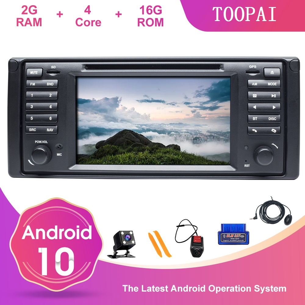 TOOPAI Android 10 For <font><b>BMW</b></font> 5 E39 X5 E53 7 <font><b>E38</b></font> M5 Auto <font><b>Radio</b></font> DVD Player SWC Steering Wheel Control Multimedia Player GPS Navi image