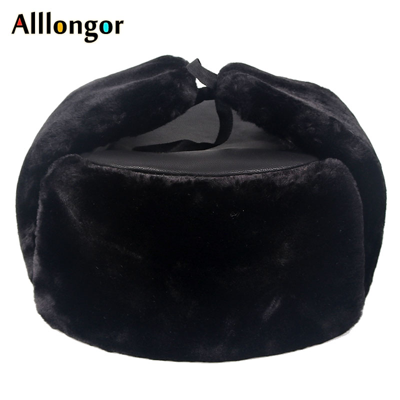 New 2019 Warm Snow Russian ushanka <font><b>hats</b></font> Pu Leather Faux <font><b>Fur</b></font> Mens Winter <font><b>hats</b></font> ear flaps Black Dad <font><b>bomber</b></font> <font><b>hat</b></font> image