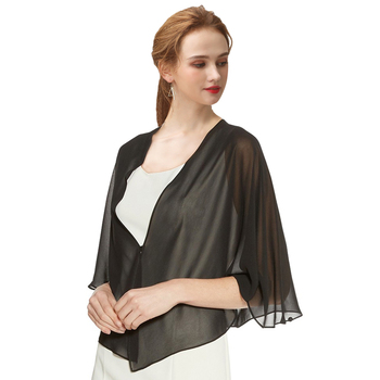 Women Black Evening Dress Chiffon Stole Prom Party V-neck with Button Shrug Elegant Simple Soft Casual Bolero for Lady 11 Colors 6