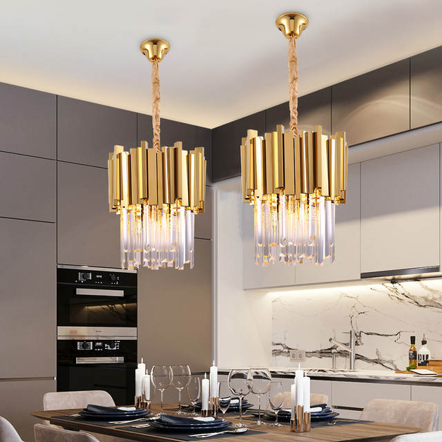 Modern Crystal Chandelier Lighting Dining Room Kitchen Island Bedroom Chain Loft Chandeliers Ceiling Gold Chrome Light Fixtures