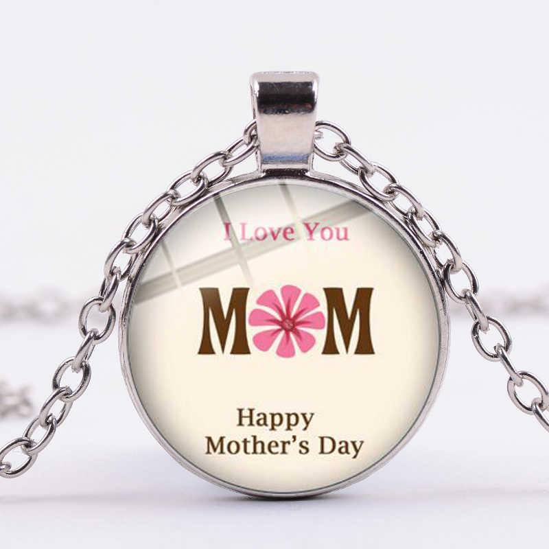 SONGDA Criativo EU Te Amo Mãe Colar Minimalismo Arte Imagem Vidro Cabochão Colares Lembrança Do Presente Da Família para a Mãe