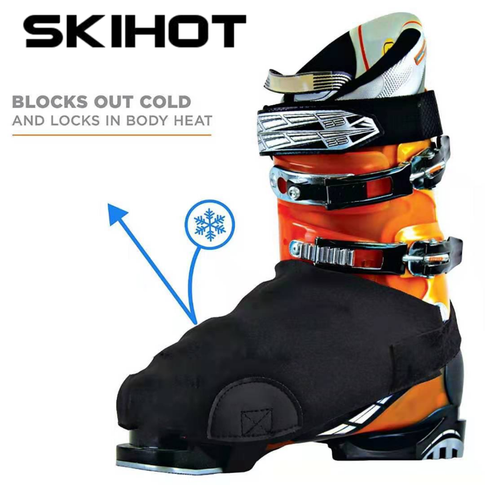 SKIHOT Ouble Ski Shoe Cover Waterproof Warm Shoe Cover Black Snow Boot Cover Protection