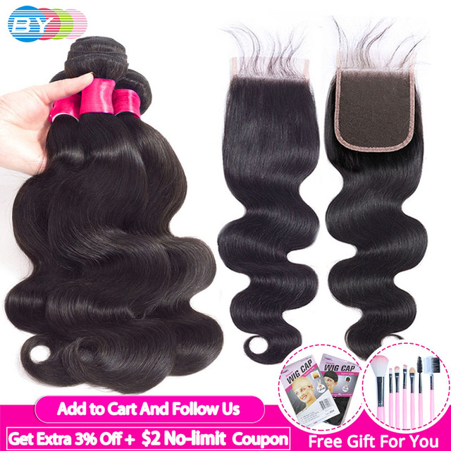 3pcs BY Peruvian Hair Bundles with Closure Body Wave Bundles with Closure With Baby Hair Remy Human Hair Extension Weaving Soft