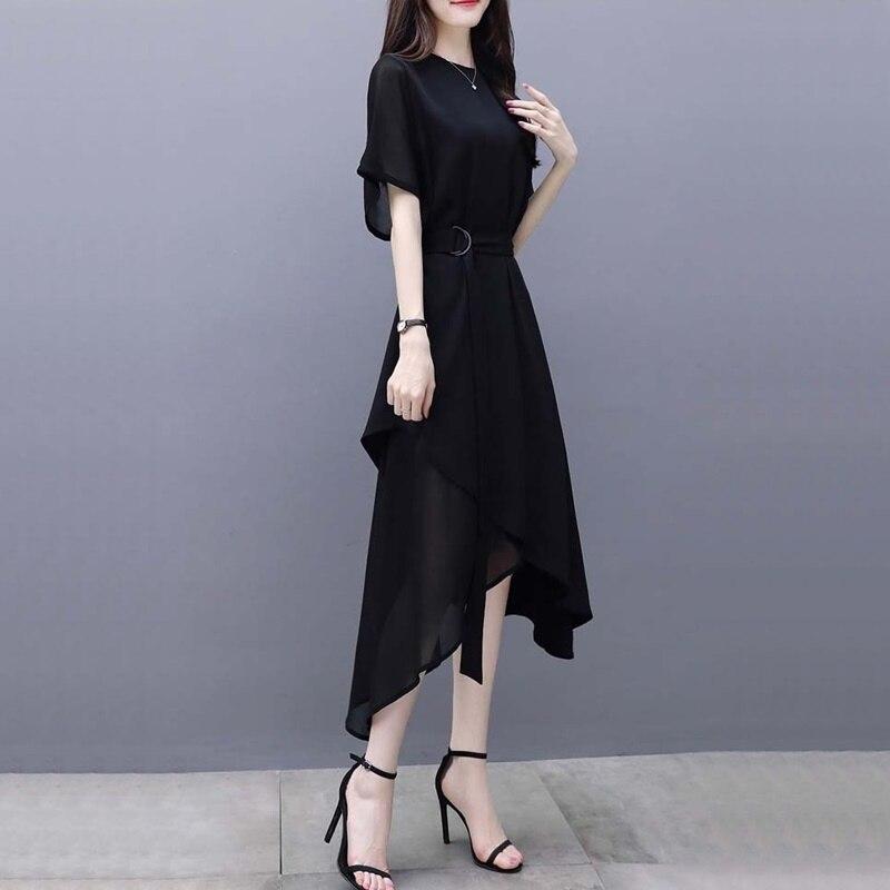 Femmes robes nouveauté 2019 robe coréenne Midi longue O cou ceinture noir décontracté femmes robes asymétriques été 2019 DD2326