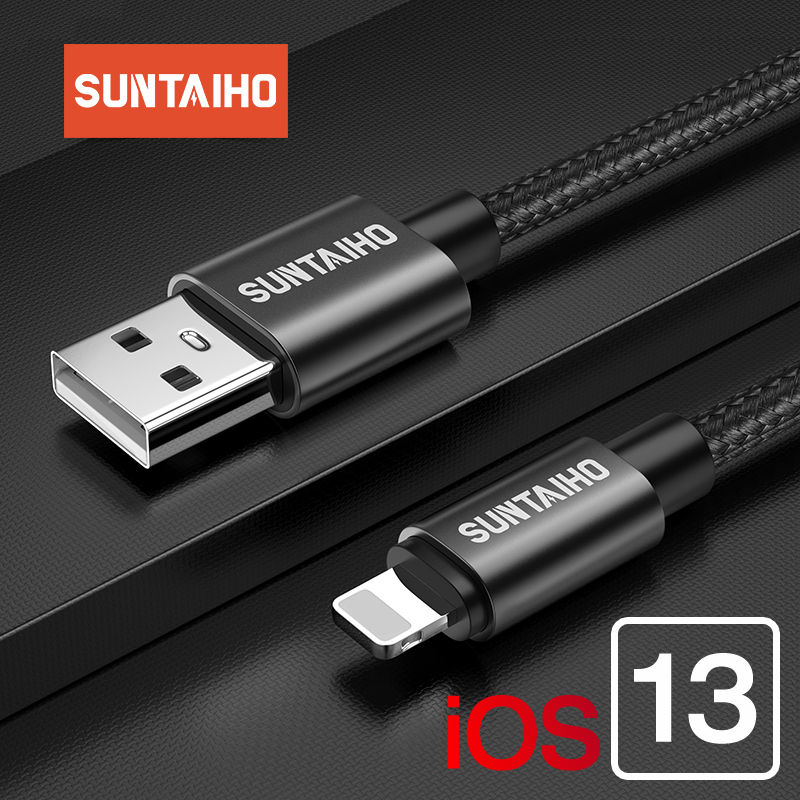 Suntaiho 2.4A USB Cable For Iphone Charger Cable XS Max Xr X USB Fast Charging Cable For IPhone 8 7 6 5s Plus Phone Charger Cord