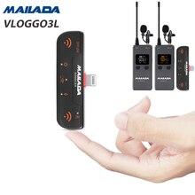 Mailada VLOGGO3L micro sans fil w transmetteur récepteurs Lavalier Mini micro pour iphone 6 7 8 X XS Xr max iphone 11 iphone 12