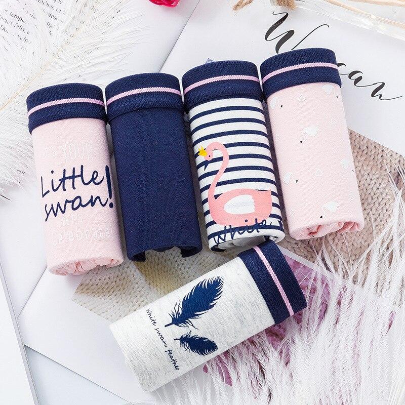 3pcs Women Striped Cotton Panties Seamless Comfort Briefs Underwear Girls Sweet Design Lingerie Mid-Waist Underpants XXL #D