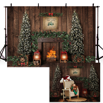 Christmas Photography Background Christmas Tree Fireplace Kids Children Party Wooden Backdrop Decoration Props for Photo Studio frozen aisha queen children s birthday party christmas props decoration set kids toy for children gift