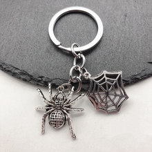 1Pieces A Halloween Ornament Cute Spider Spider Web Keychain DIY Handmade High Quality Ornament Gift 2019 1pc fashion jewelry mini keychain spider keychain spider web keychain silver dres s elegant diy handmade