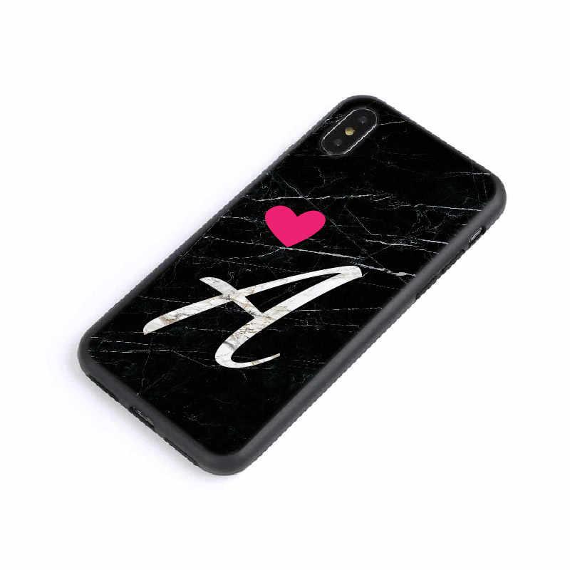 مخصص الرخام القلب فتاة الأحرف الأولى الأبجدية غطاء إطار هاتف محمول آيفون XS ماكس X XR 11 برو ماكس 8 8Plus X 7 7Plus لينة سيليكون