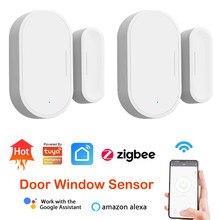 Zigbee – capteur d'ouverture de porte/fenêtre pour Tuya, alarme de sécurité intelligente, Compatible avec Alexa et Google Home Hub requis