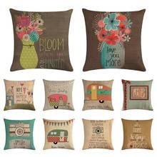 Happy Life Camper Чехлы для подушек цветение жизнь как камера подушки хлопок белье бросок декоративный чехол для подушки 1500