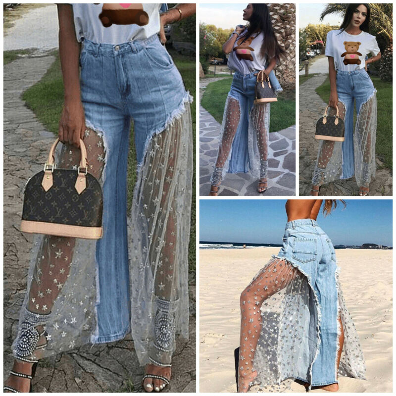 Women Fashion Sexy Denim Jeans Destroyed Split Joint Lace Tulle Fit High Waist Pants Trousers