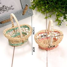 2pcs Mini Plastic Weaving Storage Basket Fruit Rattan Basket Organizer Handle Figurines Miniatures Home Decoration Accessories