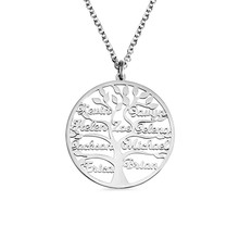 AILIN Personalize Family Tree Name Necklace Tree Of Life Stainless Steel Customised Necklace 1-9 Name Family Jewelry Mom Gift family life