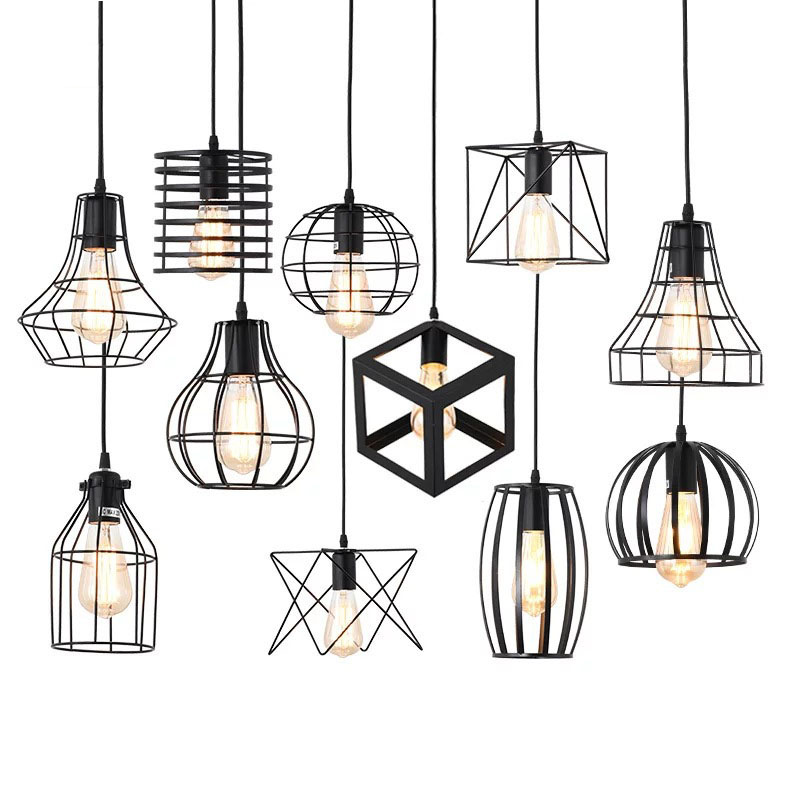 16 Nordic Pendant Lights Iron Minimalist Loft Cage Pyramid Pendant Lamp Modern Industrial Metal Hanging Lamp Parlor E26 E27 LED