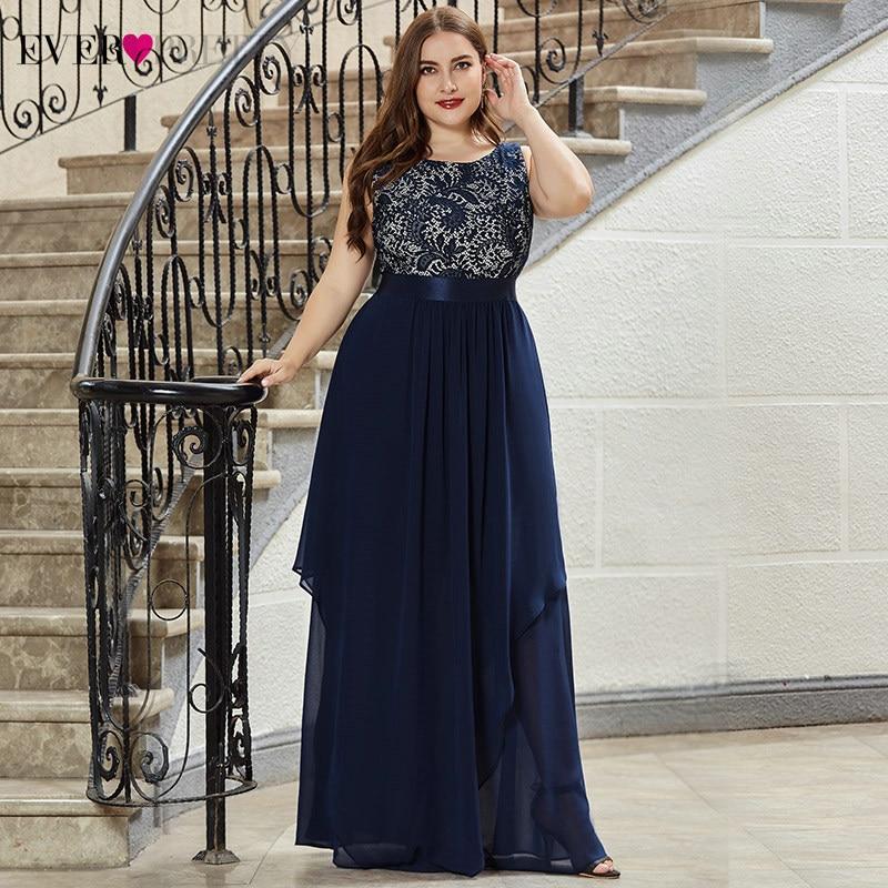 Plus Size Lace Bridesmaid Dresses Ever Pretty EP08217 A Line O Neck Sleeveless Elegant Chiffon Wedding Party Gowns VestidosBridesmaid Dresses   -