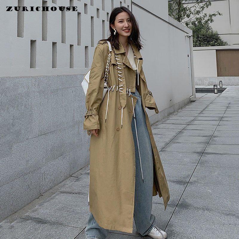ZURICHOUSE 2020 Women Trench Spring Long Coat Fashion Drawstring Bandage Design Irregular Patchwork Loose Fit Windbreaker Coat
