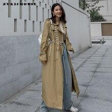 ZURICHOUSE 2020 Women Trench Spring Long Coat Fashion Drawstring Bandage Design