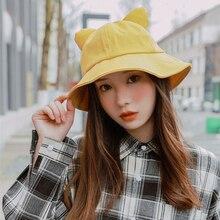 Solid Bucket Hats Cute Cat Ear Design Flat Caps Outdoor Sun Cap Hats  Stylish Fisherman Sunscreen Folding Cap for Girls Women