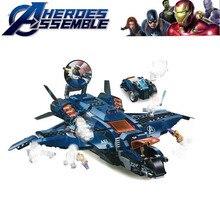 Avengers 4 Endgame Spider Man Stark Jet and Dron Attack Hydro-man Ultimate Quinjet Set Building Blocks Bricks Boy Toys