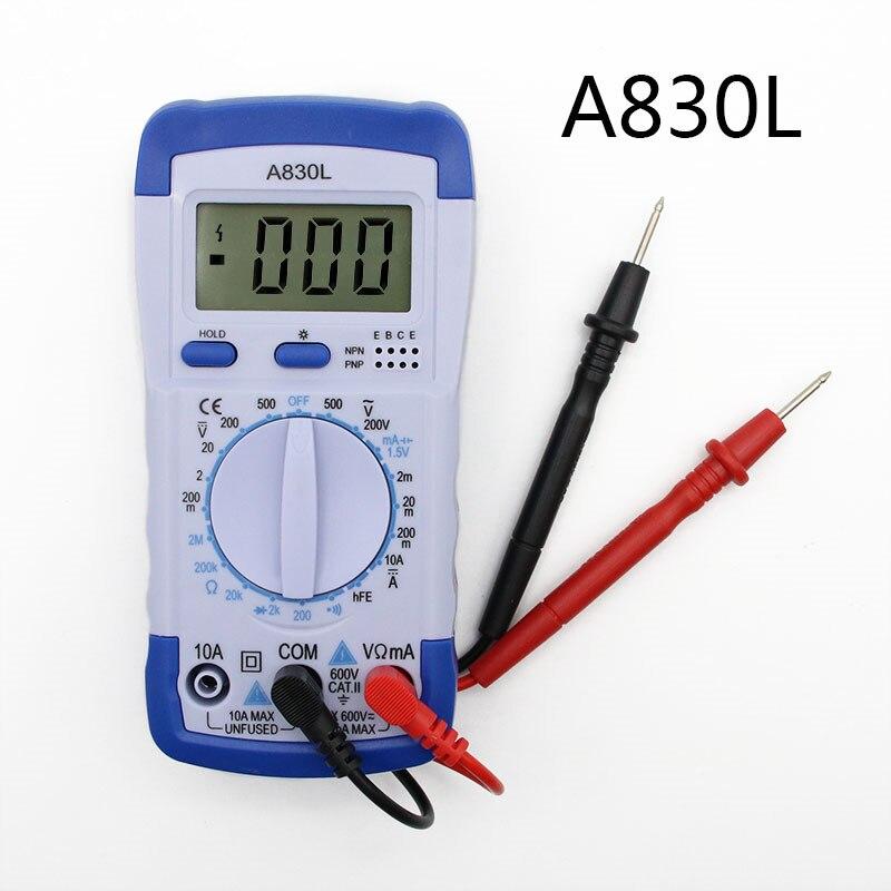 A830L LCD Digital Multimeter DC AC Voltage Diode Freguency Multifunction Volt Tester Test Current Voltmeter Ammeter Meter Gauge