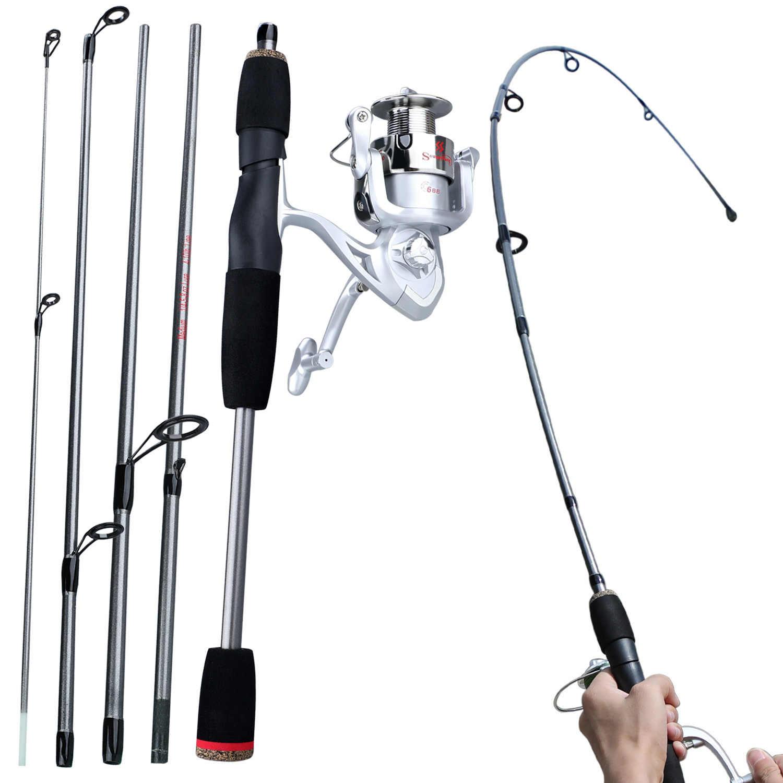 Sougayilang 新 5 セクション釣竿リールコンボポータブル 1.5 メートル旅行釣り竿と 6bb アルミスプール釣りリールセット